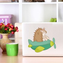 Wildlife Funny Animal Hedgehog In The Plane Color Wall Sticker Cartoon Silhouette Art Decals Car Computer Home Decor