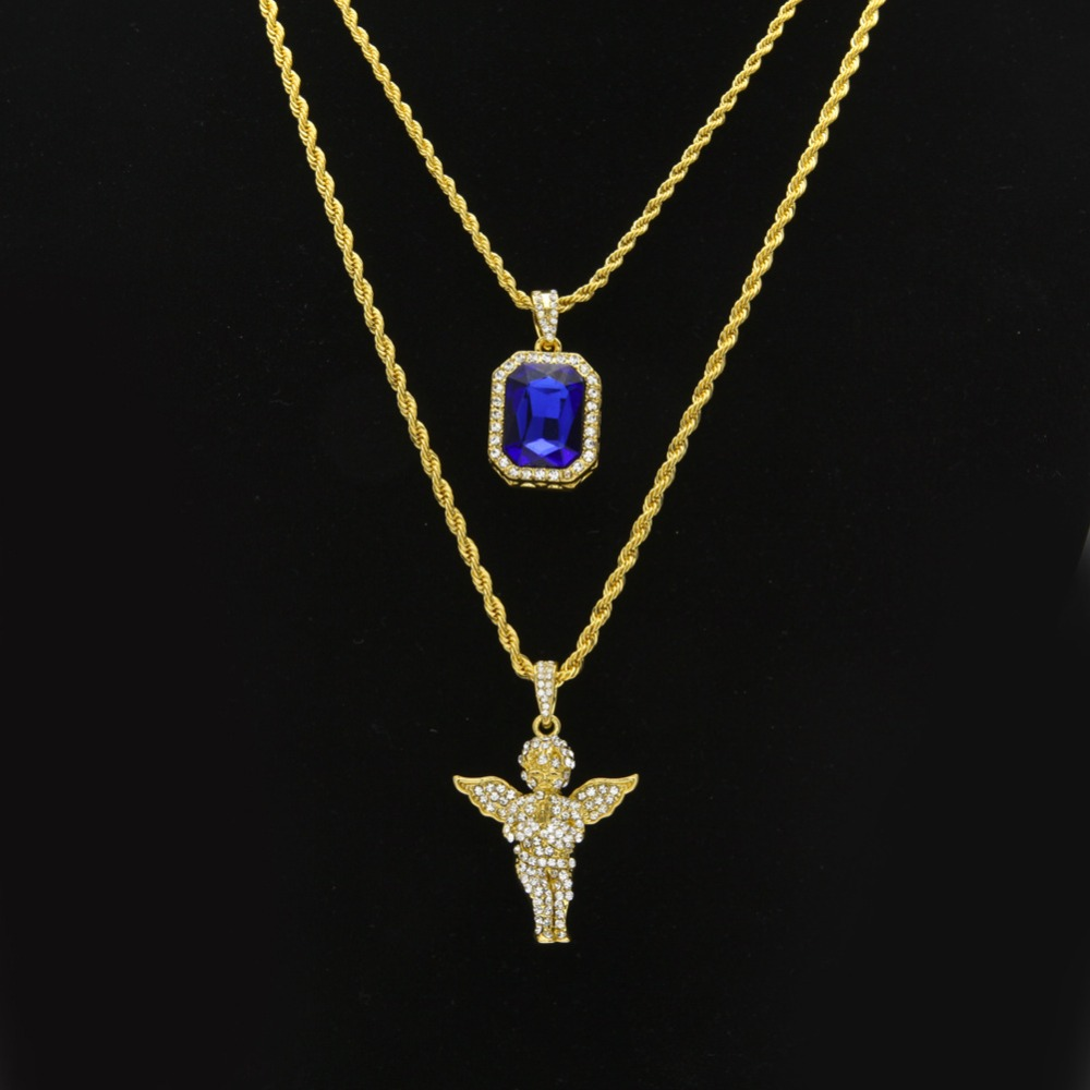 Women men hip hop golden bling rhinestone necklaces for Bling jewelry coupon code