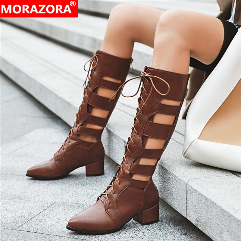 MORAZORA Plus size 33-46 New Women boots fashion lace up cut outs summer boots ladies mid calf boots hollow female shoesMORAZORA Plus size 33-46 New Women boots fashion lace up cut outs summer boots ladies mid calf boots hollow female shoes