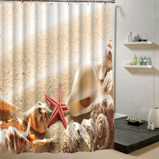 Memory Home Bathroom Decor Summer Beach Pictures Prints Sea Creatures Themed Print Polyester Fabric Shower