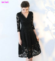 Glamorous Black Lace Evening Dresses V Neck Built In Bra A Line Formal Evening Party Dress