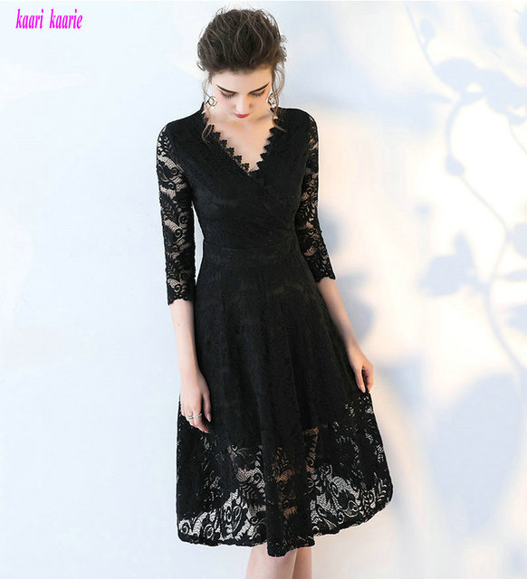 e5c742821dfe9 US $118.0  Glamorous Black Lace Evening Dresses V Neck Built In Bra A Line  Formal Evening Party Dress Short Casual Prom Gown Real Photos-in Evening ...