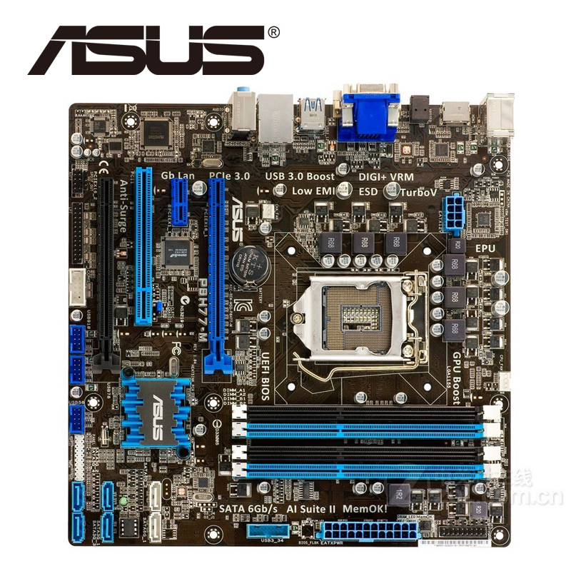 Asus P8H77-M Desktop Motherboard H77 Socket LGA 1155 i3 i5 i7 DDR3 16G uATX UEFI BIOS Original Used Mainboard On Sale original used desktop motherboard for asus m4a88t m a88 support socket am3 4 ddr3 support 16g 6 sata2 uatx