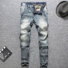 Italienische Vintage Designer Männer Jeans Top Qualität Licht Farbe  Gedruckt Jeans Slim Fit Baumwolle Stretch Hosen Marke Klassi. fb7a198cdd