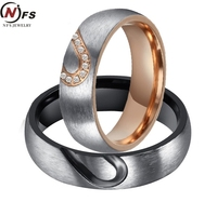 NFS 1Pair His Hers Zircon Love Heart Wedding Promise Ring Set 316L Stainless Steel Couples Engagement
