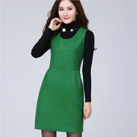 Autumn And Winter Dress Women Sleeveless Pullover Woolen Vest Casual Dresses Houndstooth One Piece Dress Free