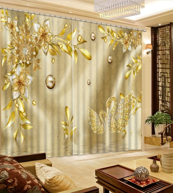 Europäischen Druck Vorhänge Vorhänge Gold Luxus Vorhang Für