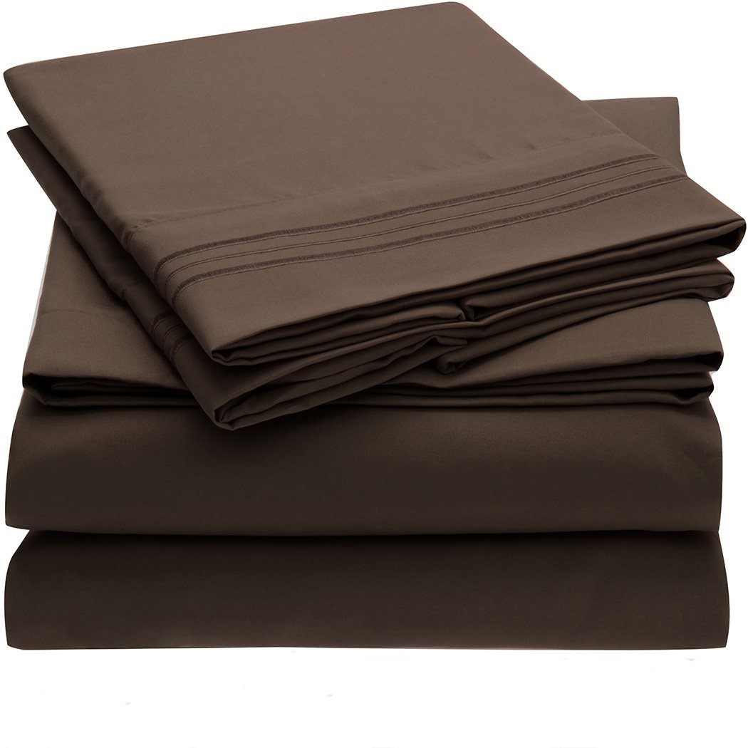 HOT SALE Bedding Set Fitted sheet Flat sheet Pillowcase 3/4pcs US Size Solid Twin Full Queen King Bed sheet Coffee
