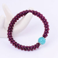Free Shipping Pretty Hand Weave 3.5mm Round Shape Natural Red Garnet Gems Elasticity Bracelets w3483