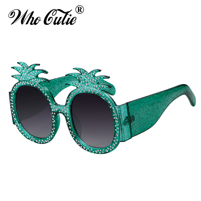 2ad2705f2f WHO CUTIE 2018 Oversized Pineapple Sunglasses Women Luxury Brand Designer  Vintage Retro Crystal Frame Round Lens Sun Glasses 631