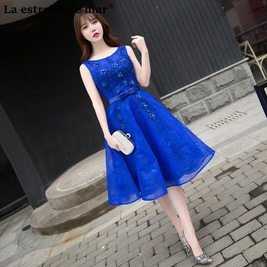 Vestido madrinha2018 new lace crystal a Line Tea Length light purple gray royal blue   bridesmaid     dresses   cheap wedding party gown