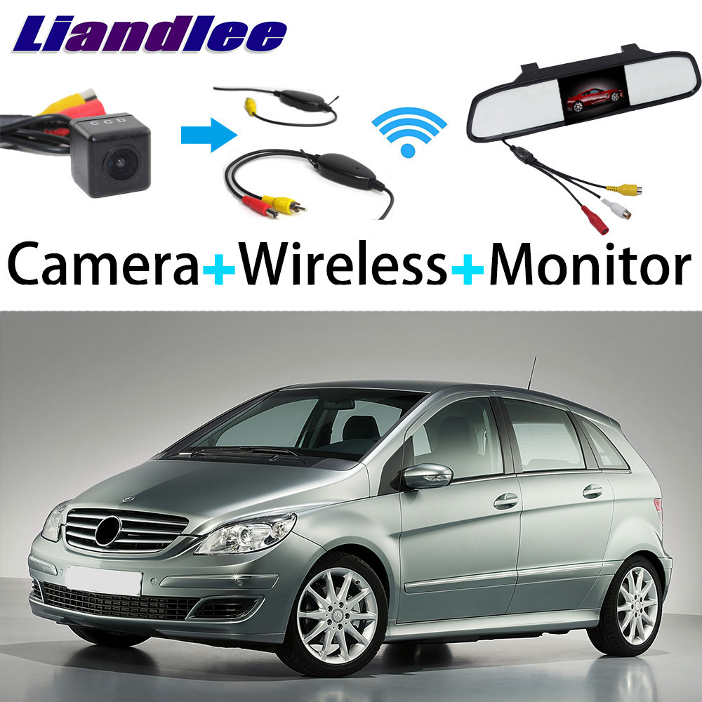 Liandlee 3in1 Wireless Receiver Mirror Monitor Special Rear View Camera Backup For <font><b>Mercedes</b></font> Benz MB <font><b>B150</b></font> B160 B170 B180 B200 image