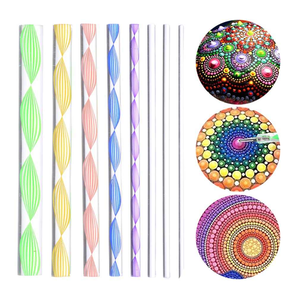 8pcs DIY Craft Mandala Stencils Dot Painting Mandala Stone Embossing Starter Kit Drawing Painting Pen Dotting Kids Craft DIY