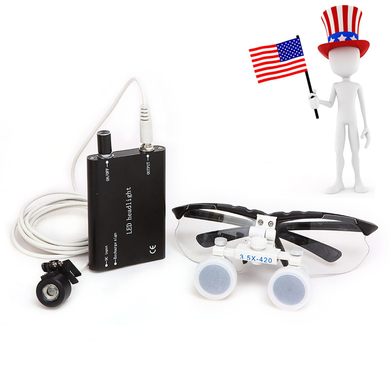 Black Dentist Dental Surgical Medical Binocular Loupes 3.5X 420mm Optical Glass Loupe CE Proved 3 5x magnification 420mm working distance white loupes amplification dental cure loupe medical surgical therapy magnifier