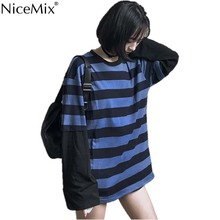 NiceMix Harajuku T-shirt Women Stripe Tops Patchwork Fake 2 Pieces Loose Long Sleeve TShirt Streetwear Pull Femme Jersey