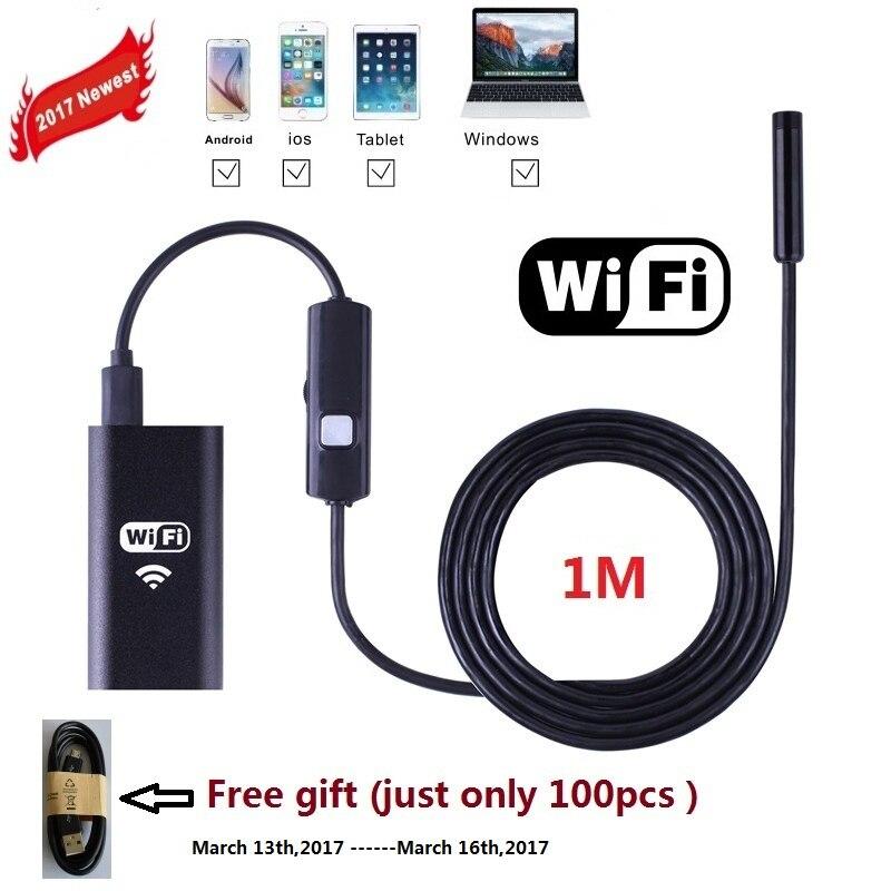 1 M Zjuxin WiFi Endoscopio 8mm endoscopio Lente iphone NUOVO un endoscopio fotocamera android con 6 led mini wifi fotocamera