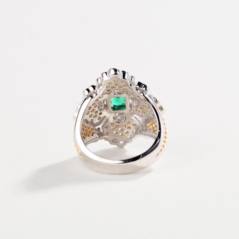 CMajor bijoux en argent massif Vintage palais croix anneaux floraux avec bague en pierre verte pour les femmes - 5