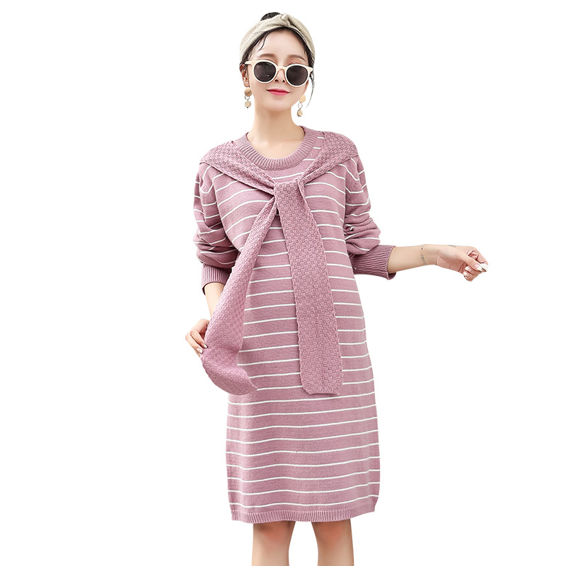 Autumn Pregnant Women Winter Pregnancy Knitted Dress Loose Maternity Sweaters Large Size Clothes H294 недорго, оригинальная цена