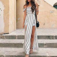 2018 Boho Off the Shoulder long women dress summer elegant Black And White Striped dress flower printing beach maxi dress vestid