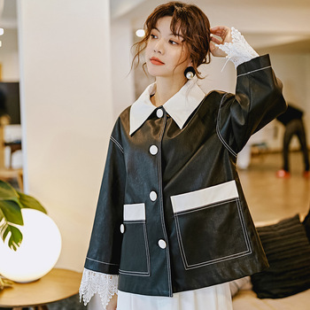 2019 Spring Fashion women's loose PU leather jackets coat Korean style pockets leather coat A027