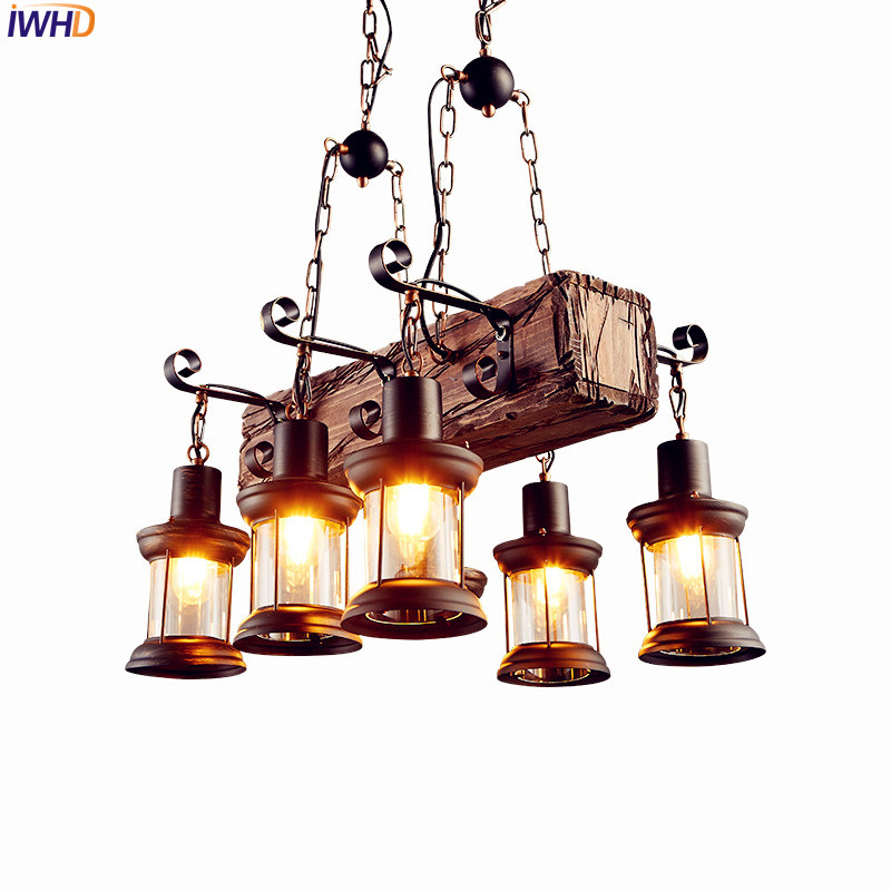 IWHD American Wooden LED Edison Pendant Light Dinning Room Restaurant Vintage Lamp ,Loft Industiral Pendant Lighting Fixtures iwhd glass style loft industrial pendant lighting fixtures dinning room american bombilla edison led vintage lamp light lampara