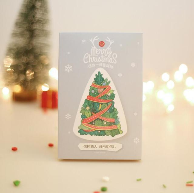 12 Pack Lot Send You A Gift Christmas Tree Greeting Card Postcard Birthday Set Message Letter Envelope