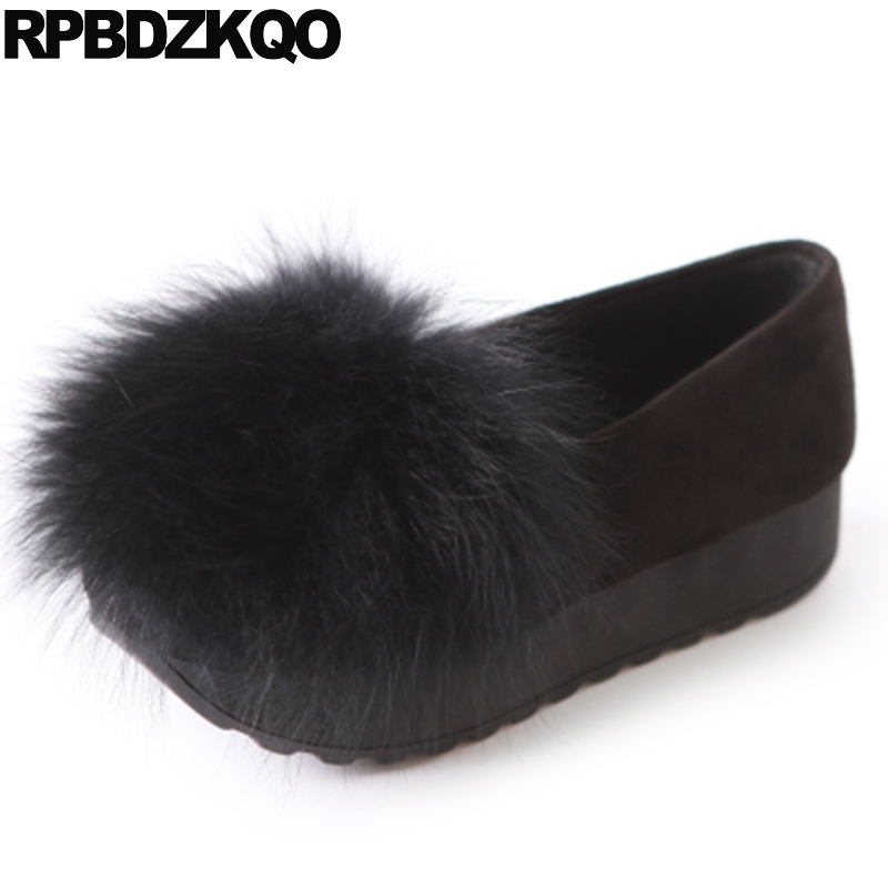 Black Creepers Platform Shoes Fur Thick Sole China Elevator Chinese Flats Cute Women Muffin Drop Shipping Spring Autumn Latest