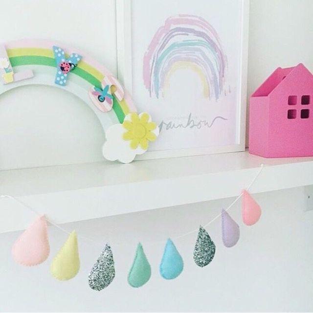 ins style 8pcs raindrops felt garland baby room wall decorations