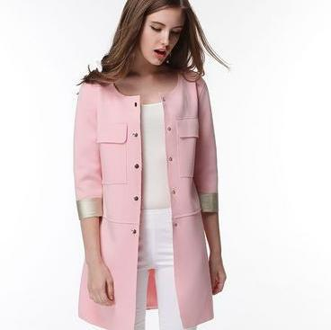 New arrivals single-breasted pink lady straight fashion coat design long   trench
