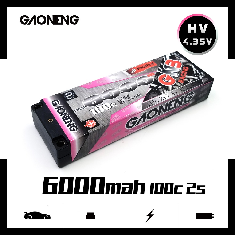 Gaoneng GNB <font><b>6000mAh</b></font> 7.6V <font><b>2S</b></font> 100C/200C Hardcase HV <font><b>LiPo</b></font> Battery pack with 5.0mm bullet Deans T Plug for 1:10 1/10 RC Car RC Boat image