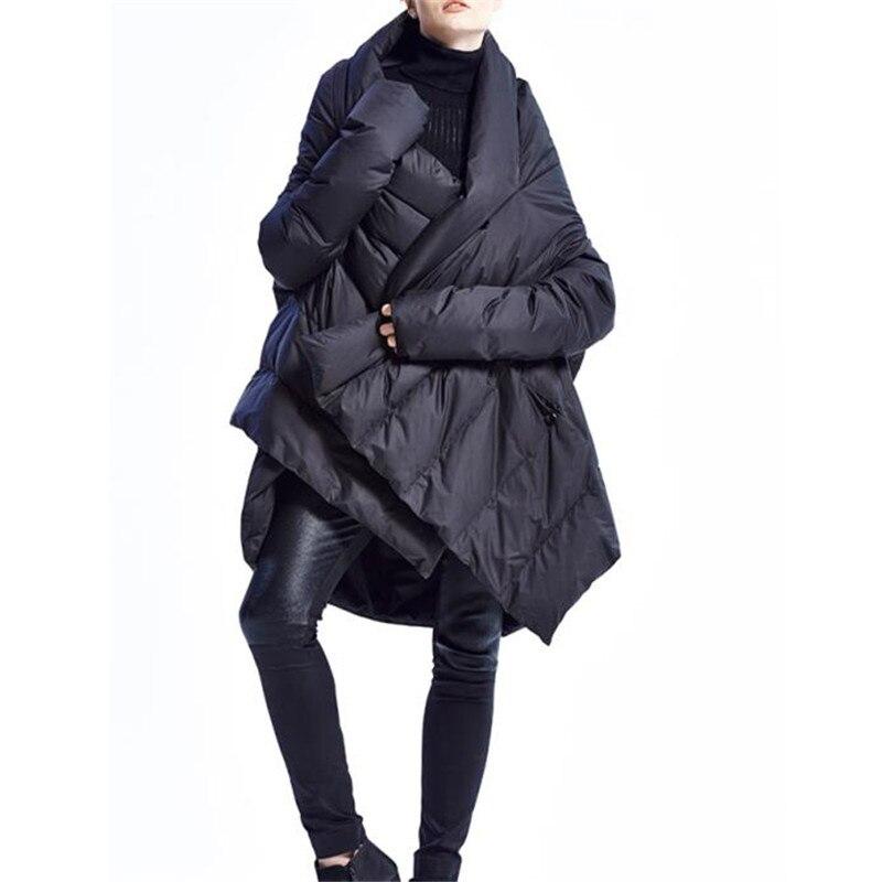Asymétrique Canard Manteau Taille Lâche Mode Long Chaud bourgogne Blanc Noir Parkas Outwear Sf1070 Femmes Grande De Hiver Duvet Femme Veste vnqFI886