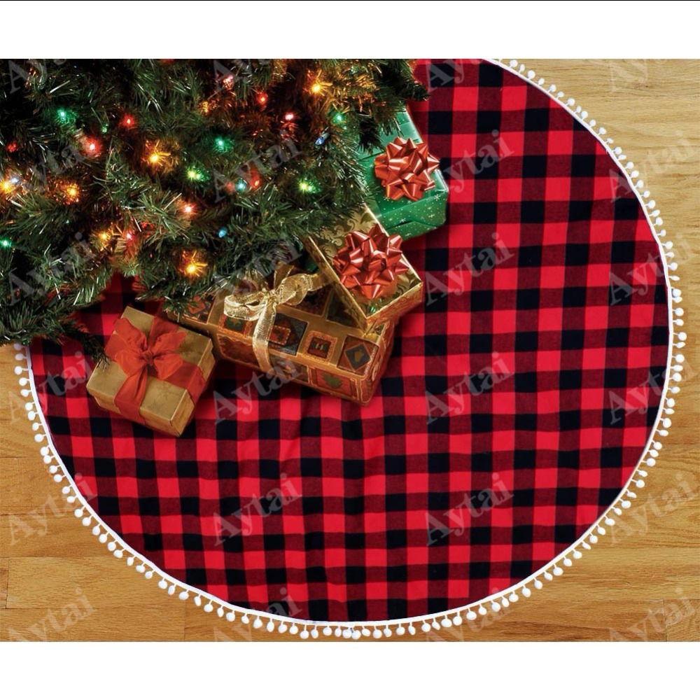 aytai buffalo plaid christmas tree skirt 48 inch red and black xmas tree skirts with pom pom for christmas decorations