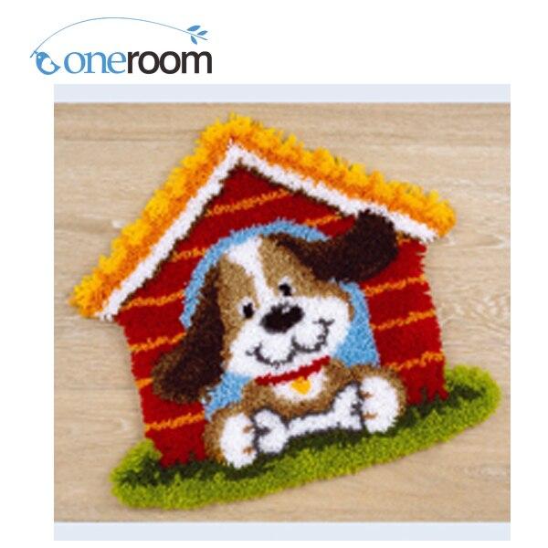 Chien avec maison Crochet Tapis Kit DIY Unfinished Crochet le Fil Tapis Loquet Kit Crochet de Tapis