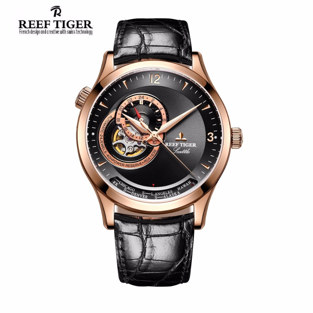 2017 New Reef Tiger/RT Casual Automatic Watches for Men Rose Gold Blue Dial Watch Leather Strap RGA1693 yn e3 rt ttl radio trigger speedlite transmitter as st e3 rt for canon 600ex rt new arrival