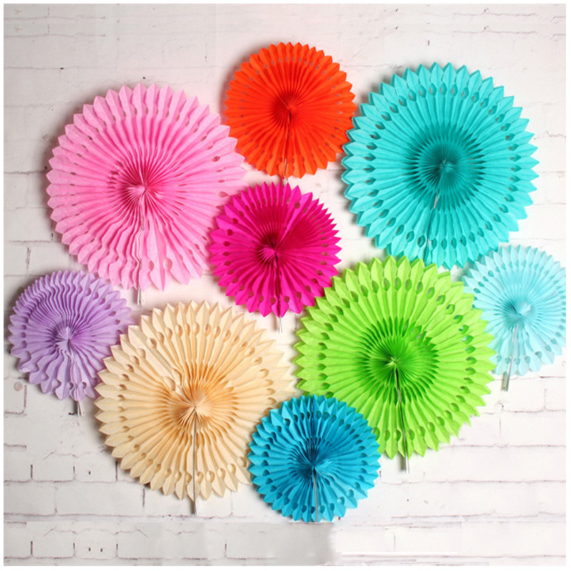 Us 1 2 20 Off Party Decorations Diy Colorful Hollow Paper Folding Fan Wedding Party Home Furnishing Decorative Paper Flower Fan In Party Backdrops