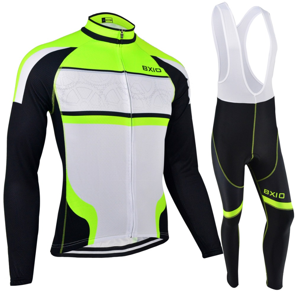 ФОТО BXIO Winter Thermal Fleece Cycling Jersey Seamless Stitching Long Sleeve Bicycle Clothing Fluo Green 5D Pad Maillot Ciclismo 127