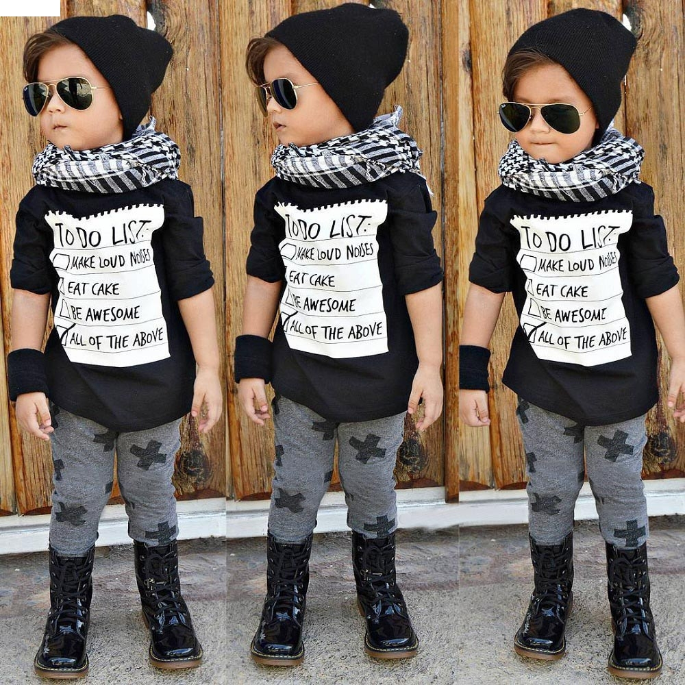 TELOTUNY children set Polyester children clothes boys clothes Letter Newborn Toddler Infant Baby T shirt Tops Pants Outfits oct