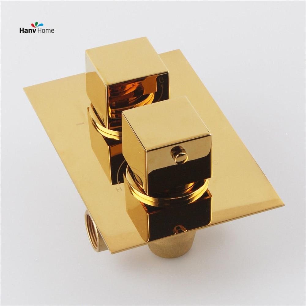 Однотонные золотистые латунь Скрывал Термостатический Клапан смесителя круглый 2 Наберите 2 путь, регулировка Mixing Температура воды 11 103 г