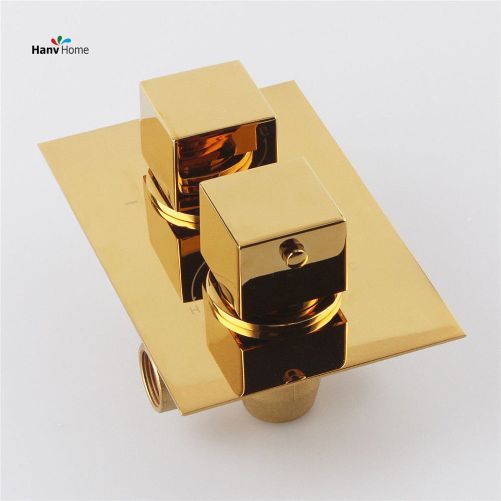 Gold Solid Brass Concealed Thermostatic Shower Valve Mixer Tap Round 2 Dial 2 Way, Adjust the Mixing Water Temperature 11-103G 3 tap connect 3 4 5 gear screw thread thermostatic faucet valve shower room mixing valve cold and hot water switch separator
