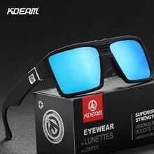KDEAM Square Mirror Polarized Sunglasses Keyhole Bridge 6-base Coated Sun Glasses Twin-logo Design Gafas De Sol