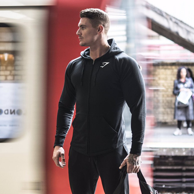 2016 autumn Gymshark Mens Hoodies camisetas pullover hombre coat Bodybuilding fitness jacket Sweatshirts Muscle men sportswear