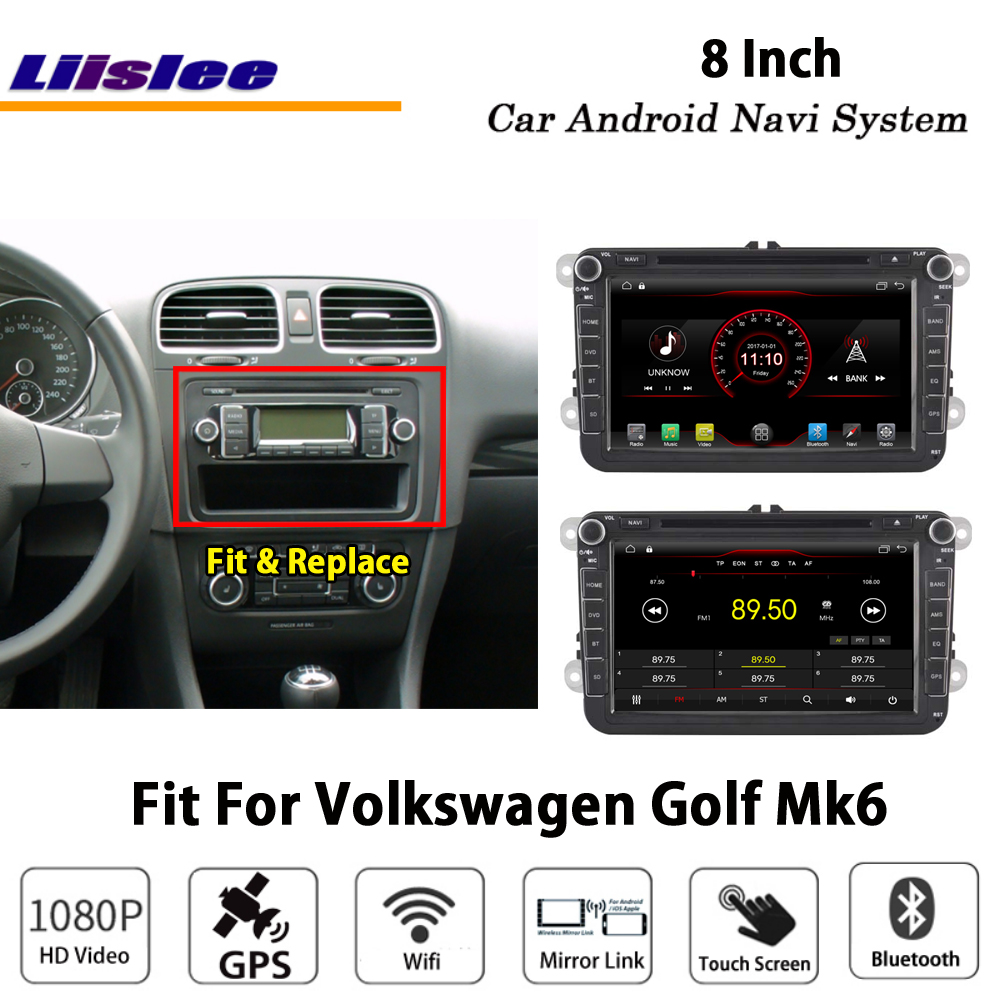Liislee Car Android For Volkswagen Golf Mk6 2008 2013 Stereo Radio BT FM Video Carplay GPS