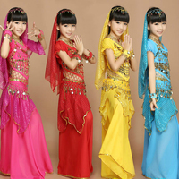 2017 Kids Belly Dance Costume 3 /6 Pcs Child Coin Bollywood Dance Wear Sets Girls Indian Bellydance Belly Dancing Costumes Sets