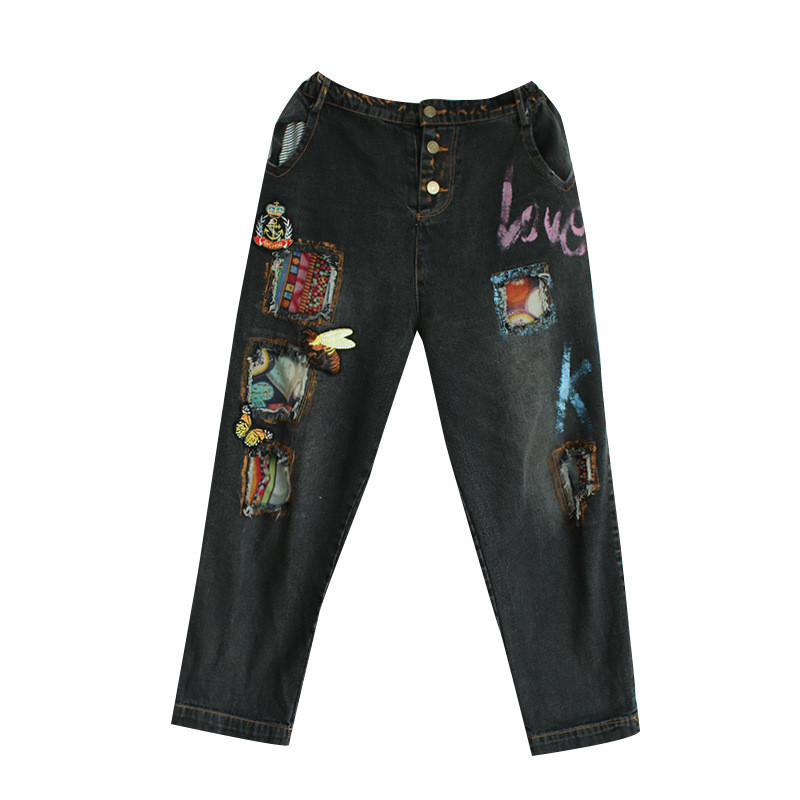 ФОТО vintage embroidery Animal pattern jeans patch Painted Letter women jeans embroidered honeybee Butterfly plus size cross pants