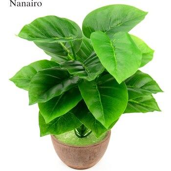 1 bukiet/18 liści sztuczny jedwab zielony Scindapsus Aureus liści na dekoracje ślubne fałszywe Bonsai drzewa roślin akcesoria