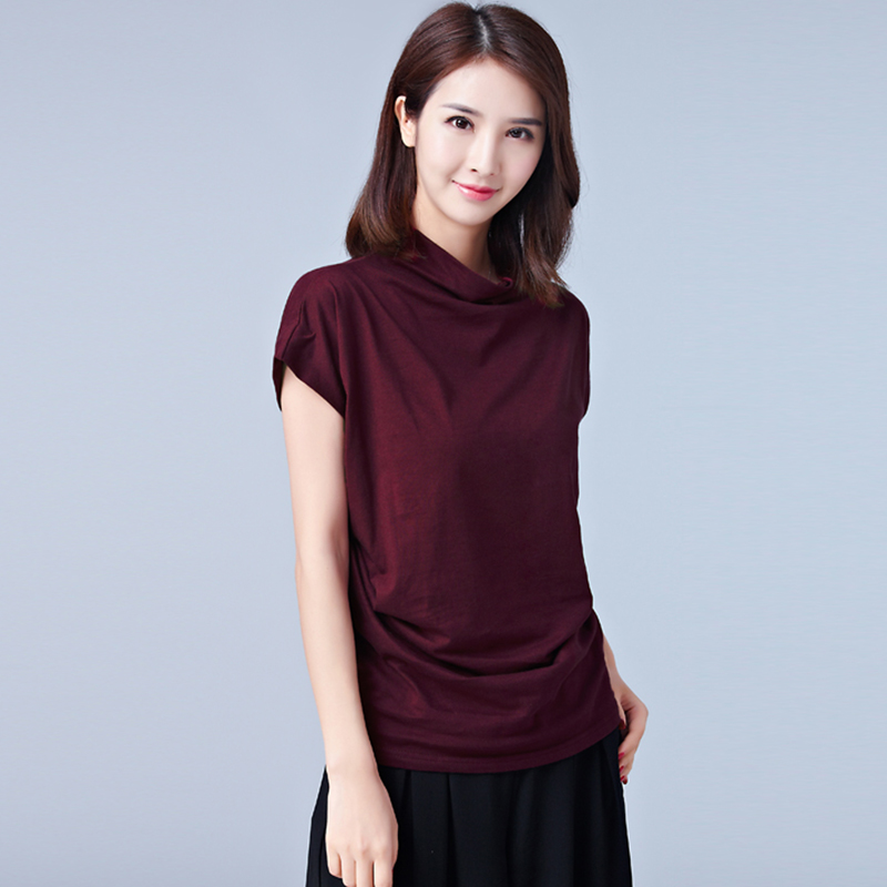 100 Cotton Blouse Solid Turtleneck Casual Fashion Women White Shirt Short