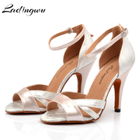 Ladingwu Latin Dance Shoes Women Ballroom dancing shoes for women Flannel and PU Apricot Pink Black Dance Heels Sandals Women