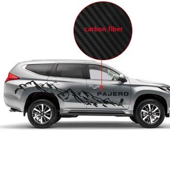 מדבקות לרכב 2 Pcs רכב צד גוף הרים סטיילינג גרפי ויניל רכב אביזרי מדבקות מותאם אישית עבור mitsubishi פאג 'רו ספורט