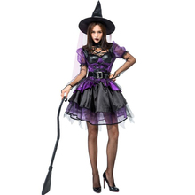 Gorgeous Women Purple Tutu Witch Costume Halloween Party Adult Cosplay Clothing