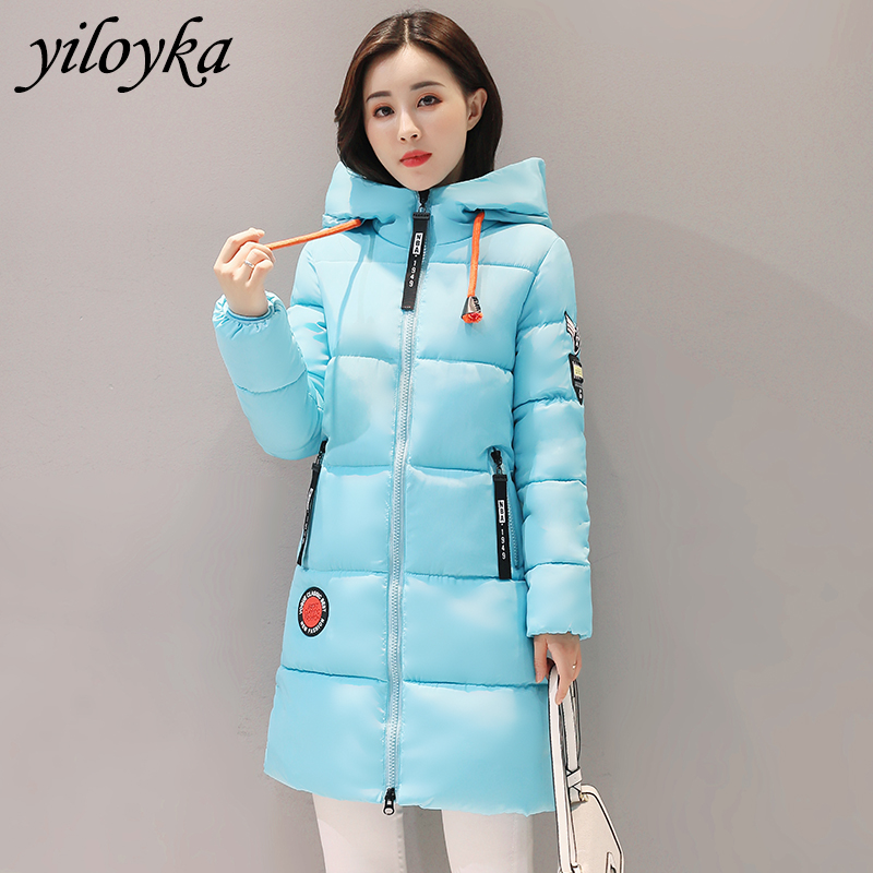 New Long   Parka   Mujer 2019 Winter Jacket Women Fashion Hooded Thick Warm Padded Down   Parkas   Female Tops Coat Women Jackets